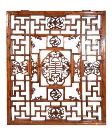 A Chinese wood lattice window
