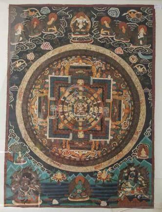Mandala-Thangka, Tibet, 19. Jahrhundert, Gouache/Leinen, mit zentraler Buddhadarstellung,mehrfach