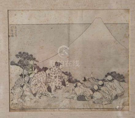 Hokusai (1760-1849), Die Erschaffung der Fuji, aus der Serie: 100 Ansichten der Fuji(1836),