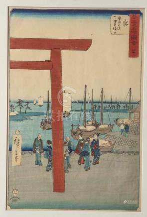 Hiroshige, Ando (1797-1858), Farbholzschnitt, Gojusan-tsugi Meisho Zue, Nr. 42 Miya Atsutano eki