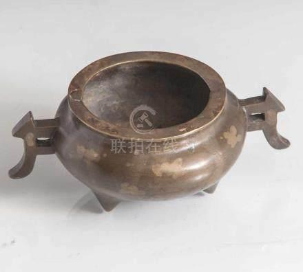 Weihrauchbrenner aus Bronze, China, 19. Jahrhundert, gesplashter Flecken-Dekor. Us. m.gegossener