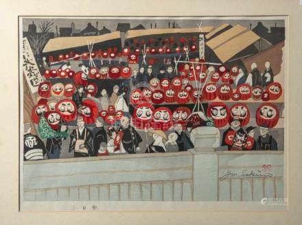 "Sekino, Junichiro (1914-1988), ""Daruma Doll Fair"", Farbholzschnitt, re. u. sign. u. bez.Ca. 46 x"