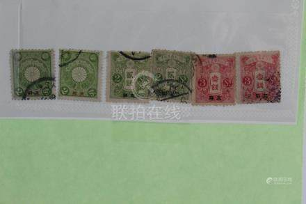 Six Japanese Post Stamps in China.