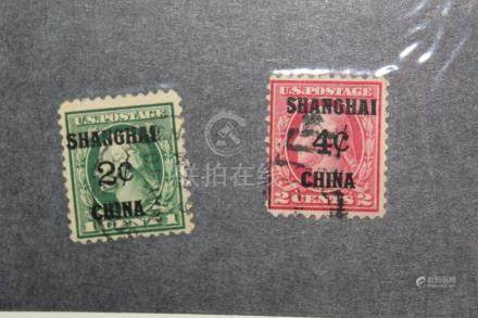 US Post in China, Shanghai. Four and Two Cents.