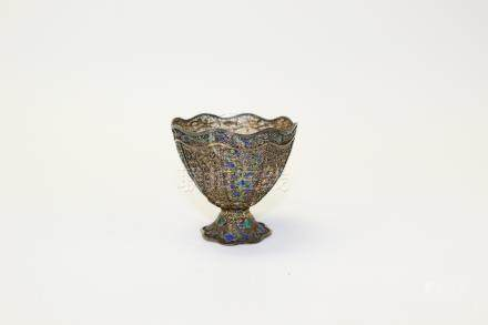 Antique Chinese Enameled Silver Cup.