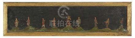 CHINE, début XXème Peinture sur panneau représentant neuf pe