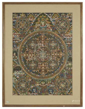 Asie, XXème Tanka en soie peinte à décor d une multitude de