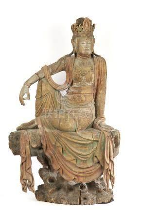 CHINE Grande Sculpture Guanyin de la Déesse en position du d