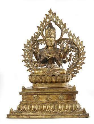 TIBET Elégante figure en bronze doré du bodhisattva de la co