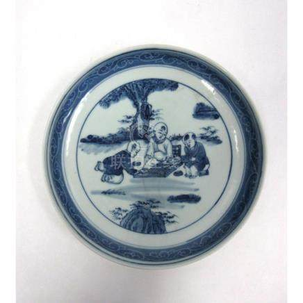"Blue and White ""Boys"" Dish with Bamboo."