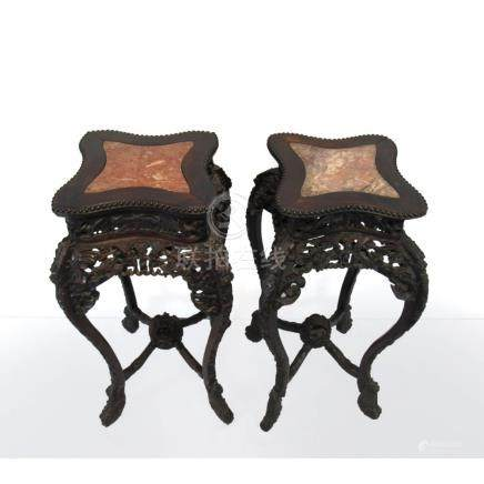 Pair of Foliate Square Marble Top Tables.