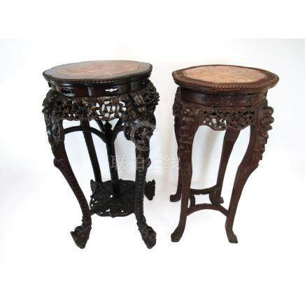 Two Chinese Marble Top Tables.