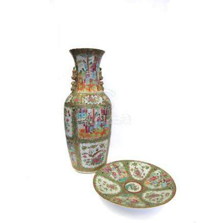 Rose Medallion Vase and Plate.