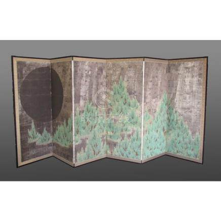 "Japanese Screen, ""Moon Over Pine Trees """