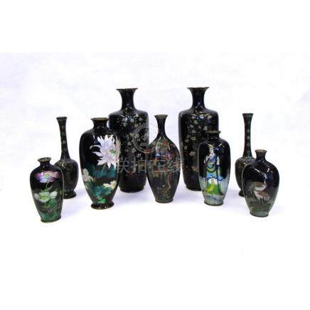 Group of Japanese Cloisonne Vases.