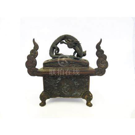 Parcel-Gilt Bronze Dragon Censer.