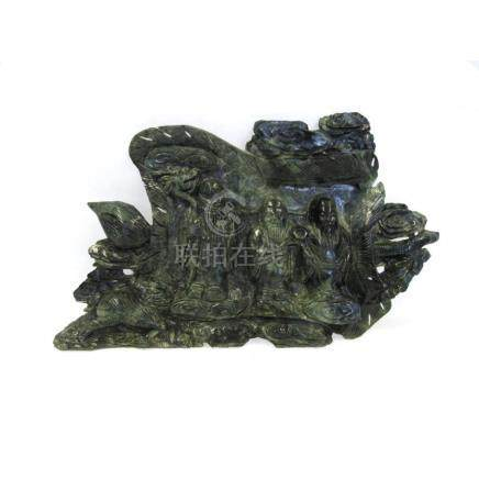 Spinach Jade Carving of Luohans.