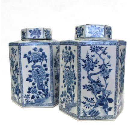 Pair of Blue and White Hexagonal Ginger Jars.