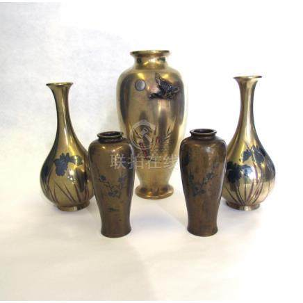 Group of 5 Japanese Mixed Metal Vases.