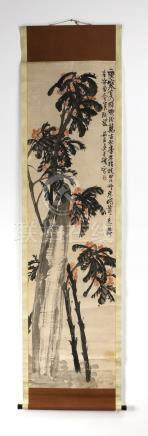 """Chinese watercolor and ink hanging scroll, 79""""l"""