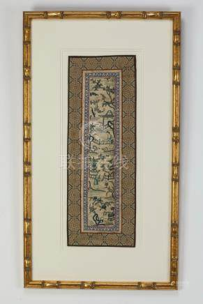 Chinese framed embroidered panel of a landscape