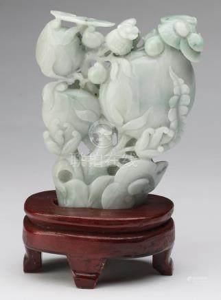 "Chinese celadon jade peach & lingzhi carving, 8""h"