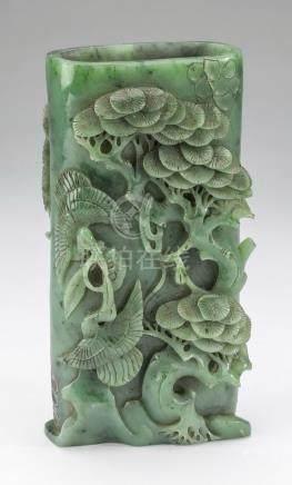 """Carved celadon jade crane and pine vase, 7""""h"""