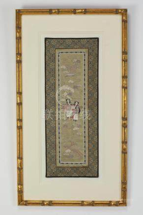 Chinese framed embroidered panel, celestial beauties