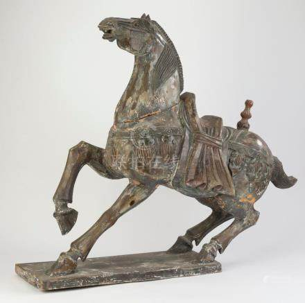 """Chinese carved wood Tang style horse, 33""""h"""