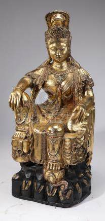 """Gilded and carved wood Guanyin, 41""""h"""