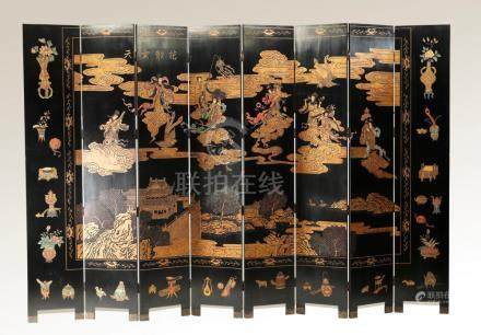 """Maitland-Smith double sided lacquered screen, 96""""h"""