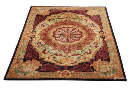 Chinese sculpted wool Aubusson style rug, 10' x 7'