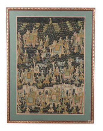 Indian hand-painted scene of elephant procession