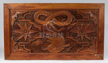 """Chinese carved wood dragon panel, 42""""l"""