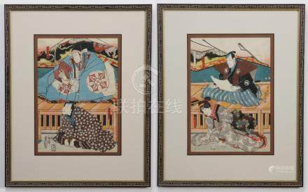 (2) Japanese woodblock prints, after Kunisada