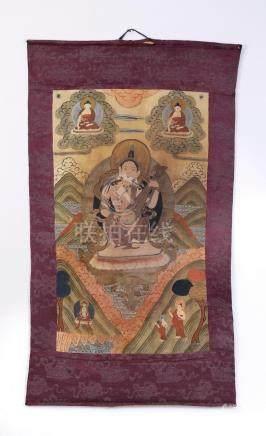 "Hand painted Tibetan thangka of Saraswati, 46""l"