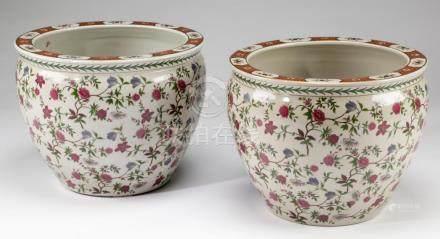 (2) Chinese ceramic fishbowls