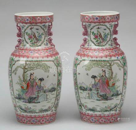 "(2) Large Chinese porcelain floor vases, 24""h"