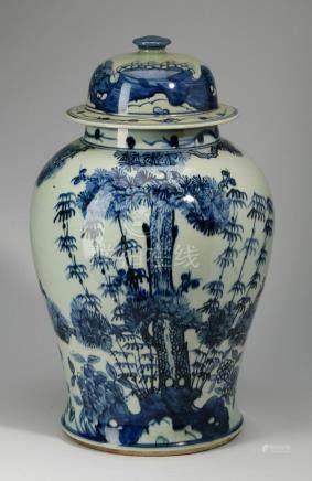 Chinese porcelain lidded jar, 'Three Friends' motif
