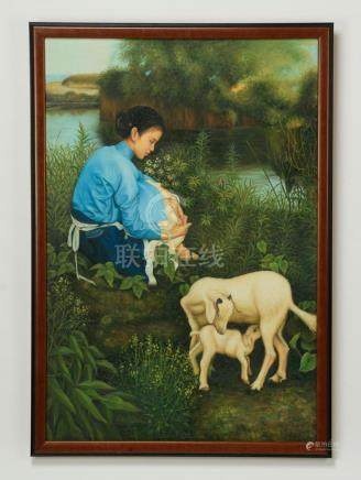 Contemporary Chinese O/c of young woman with lambs