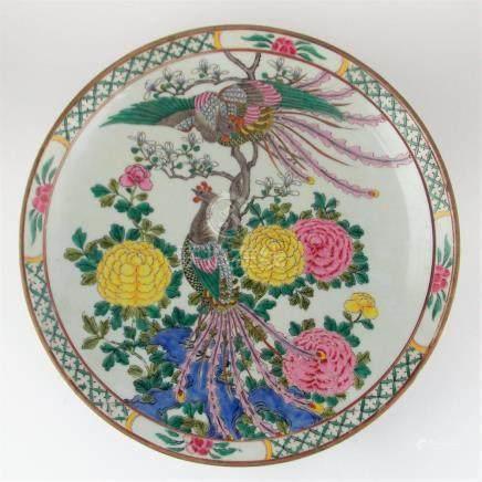 """PLATO CHINO. En porcelana Familia Verde decorada """"faisanes y"""
