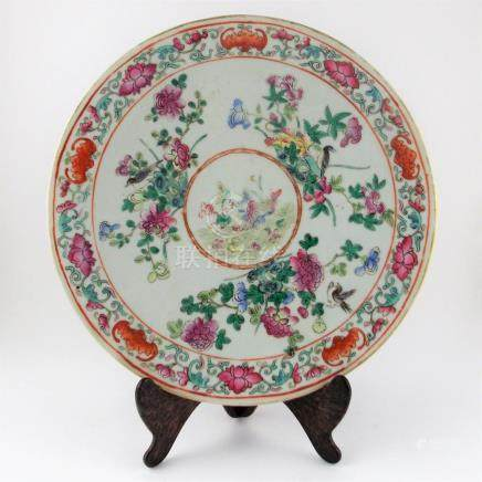 "PLATO CHINO. En porcelana Familia Rosa decorada ""aves, flore"