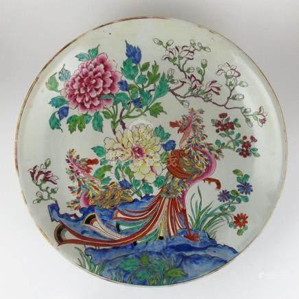 """PLATO CHINO. En porcelana decorada """"faisanes y flores"""". Diám"""