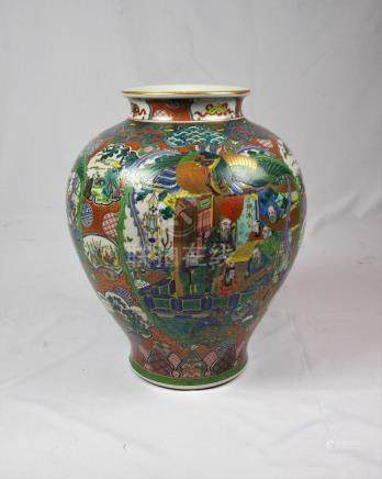 "FLORERO JAPONÉS. SIGLO XIX. En porcelana decorada ""paisajes,"
