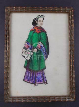 """PAR DE CUADRITOS CHINOS. """"Damas con vestidos"""", pintados con"""