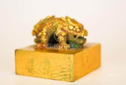 A Fine Gilt Bronze 'Beast' Seal