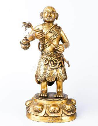 A Chinese Gilt Bronze Figure Of Luohan