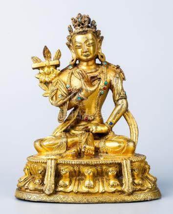 A Chinese Gilt Bronze Figure Of Bodhisattva
