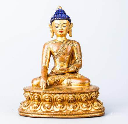 A Chinese Tibetan Gilt Bronze Figure Of Shakyamuni