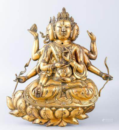A Finely Cast Chinese Bronze Figure Of Usnisavijaya